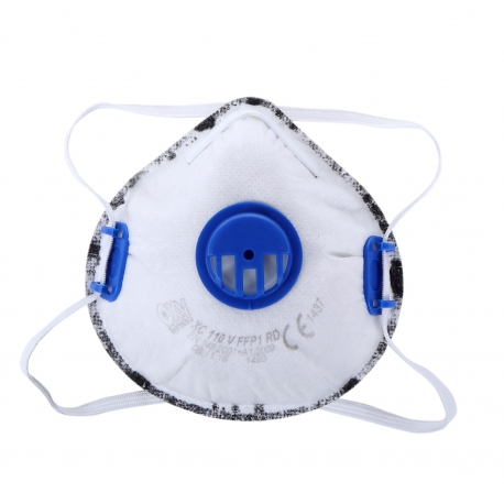 Dust masks FFP1 with valve with active carbon layer Lahti Pro L120090S