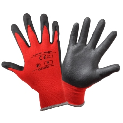 Protective gloves coated with red nitrile Lahi Pro L2212