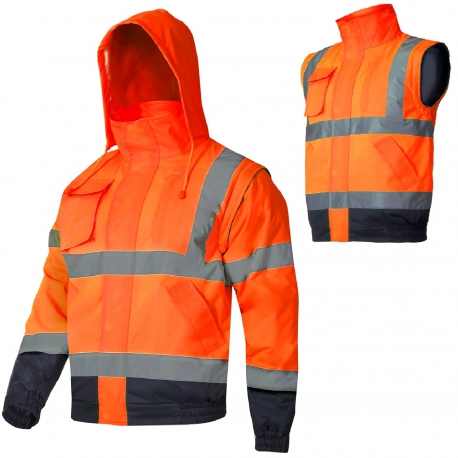 Winter jacket, short, insulated, 2in1 hooded vest Lahti Pro L40926