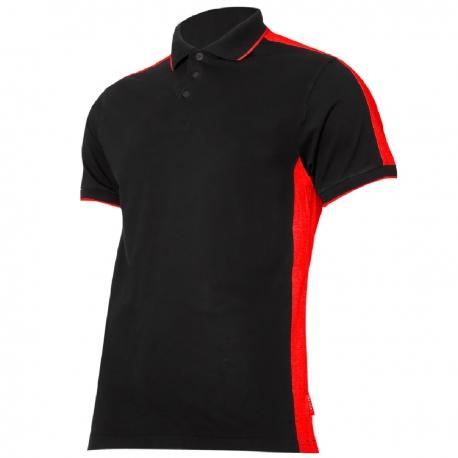 Koszulka Polo męska czarno czerwona 190g bawełna Lahti Pro L40321