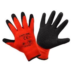 Zimowe rękawice ochronne robocze ocieplane czerwone powlekane lateksem Lahti Pro L2510