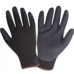 Zimowe rękawice ochronne robocze ocieplane czarne powlekane nitrylem Lahti Pro L2513