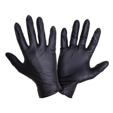 Rękawiczki jednorazowe nitrylowe czarne bezpudrowe Lahti Pro L2215