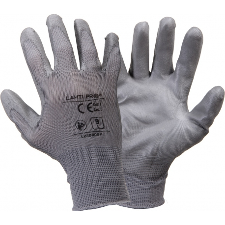 Protective gloves coated with Lahti Pro L2308 polyurethane