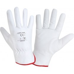 Insulated work gloves made of white goatskin Lahti Pro L2514