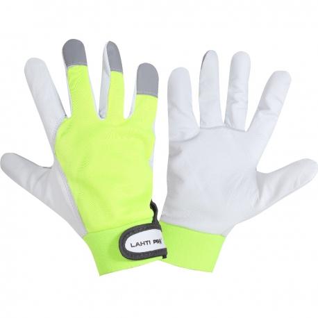 Rękawice robocze ochronne ze skóry koziej żółte Lahti Pro L2723