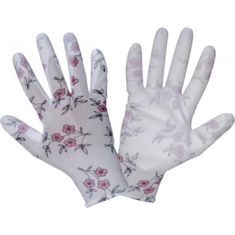 Rękawice ogrodowe damskie w kwiatki poliuretan Lahti Pro L2312
