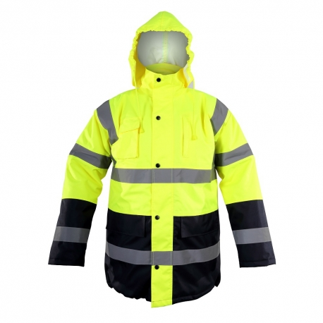 Zimowa kurtka ostrzegawcza ocieplana żółta EN ISO 20471 LahtiPro L40907 przód