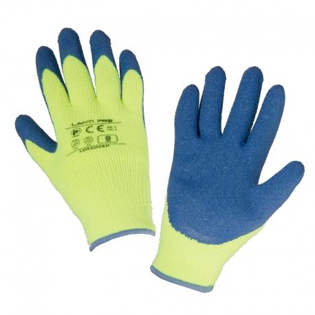 Zimowe rękawice ochronne ocieplane zółte lateks LahtiPro L2503
