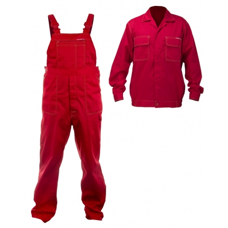 Work clothes red sweatshirt plus a set of overalls