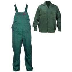 Work clothes green sweatshirt plus a set of overalls