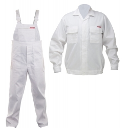 Work clothes navy white sweatshirt plus a set of overalls