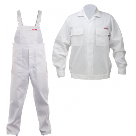 LPQC Ubranie robocze białe komplet bluza ogrodniczki LahtiPro QUEST