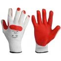 Rękawice brukarskie lateksowe czerwono-białe 12 par LahtiPro L210910W