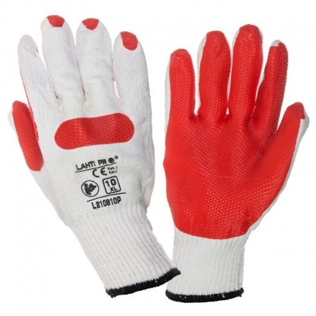 Rękawice brukarskie lateks czerwone białe 12par LahtiPro L210910W