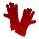 Rękawice spawalnicze ochronne ze skóry czerwone LahtiPro L2703