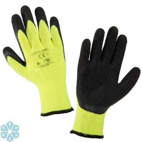Zimowe rękawice ochronne ocieplane czarno żółte lateks LahtiPro L2504