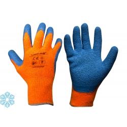 Zimowe rękawice ochronne ocieplane pomarańczowe powlekane lateksem LahtiPro