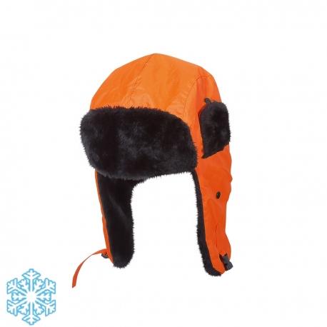 Zimowe czapki uszatki ocieplane pomarańczowe Lahti Pro L1020300